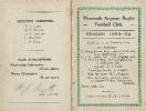 1933-34 Fixture Card