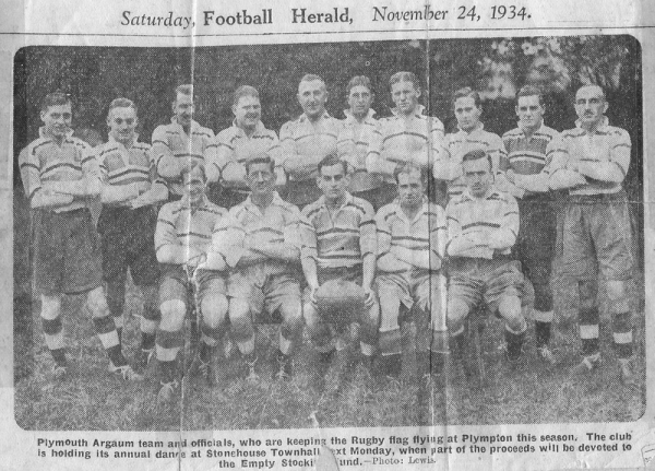 1st XV 1934-35: J.Beatty, J.M.Ross, H.J.Sloggett, H.M.Robinson, G.Creber, L.Rowden, T.Wilton, L.Giddy, L.Cleverley; R.J.Sully, G.Perry, W.G.Westlake,?, M.F.Hodge.