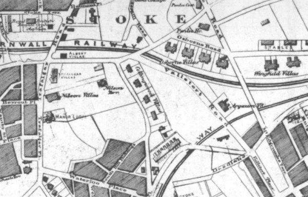 An old map of Plymouth showing the location of Argaum Villas
