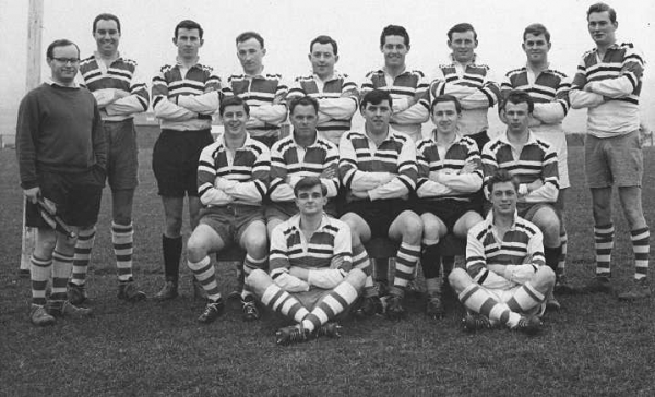 75th ANNIVERSARY MATCH v DEVON COUNTY 12th APRIL 1962     G. Finnie, B. Rees, B. Browning, G. Bryan, C. Burrows, P. Green, M. Dodd, A. Stidwell, N. Haddon,  G. Kirby, R. Friend, J. Keating (Capt.), M. Perkins, K. Beake,  R. Wright, J. Bresher