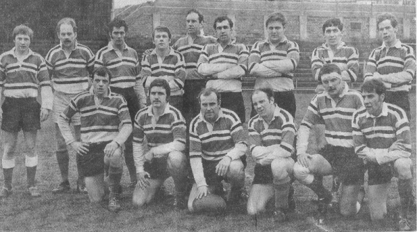 The Plymouth Argaum XV which reached the Devon Cup Quarter Final: Kieron Dwyer, Ken daniels, Craig Muir, Roger Ninnis, Barry Rees, Frank Lavis, Dave King, John Price, Roger Curtis; Chris Cooms, Phil Sargent, Ray Plummer(capt), John Clarke, Jeff Perring, Fred Gill.