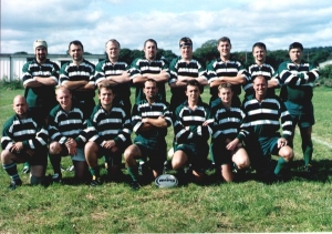 1st XV 2000-01: Chris Henderson, Richard Belli, Paul Venkort, Taff Griffiths, Nigel Pinder, Mark Richardson, Mark Foster, Will Moulder; Phil Hall, Ashley Dunne, Lee Mcdowell, Danny Morgan, Andy Critchley, Alistair Baillie, Phil Morgan.