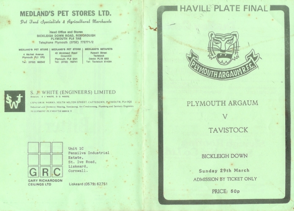 Havill Plate Final Match Programme